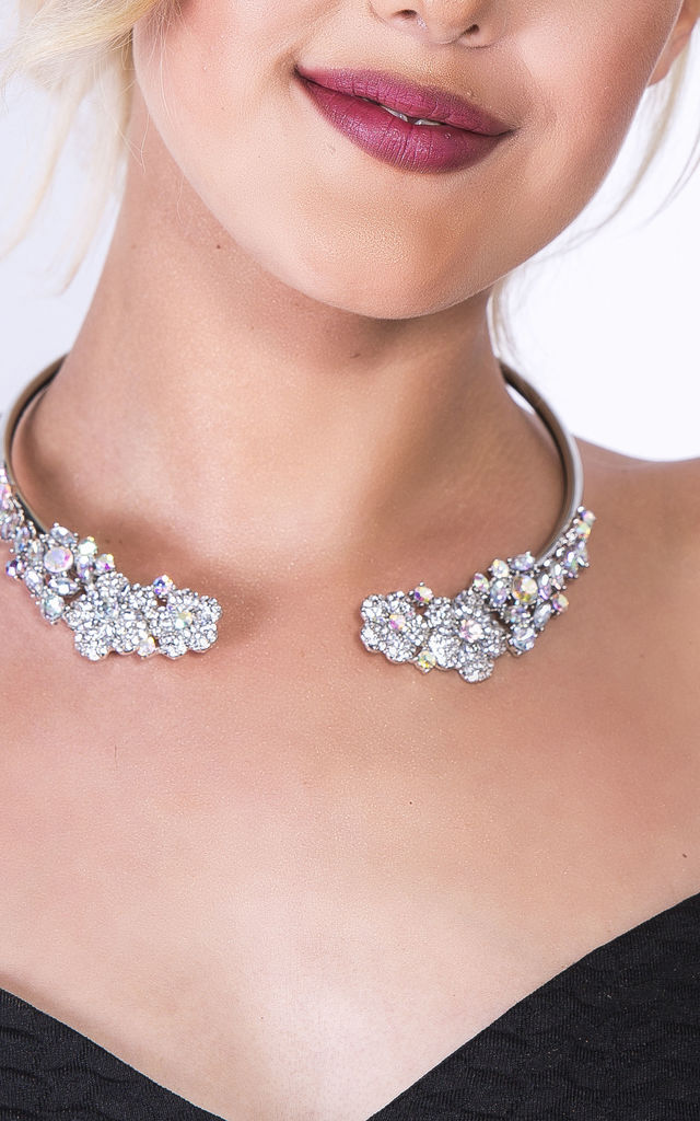Silver & Iridescent 1920s Gem Choker Necklace by Emi Jewellery
