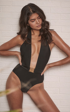 CHRISTI BLACK BELTED HALTERNECK SWIMSUIT by Wolf & Whistle