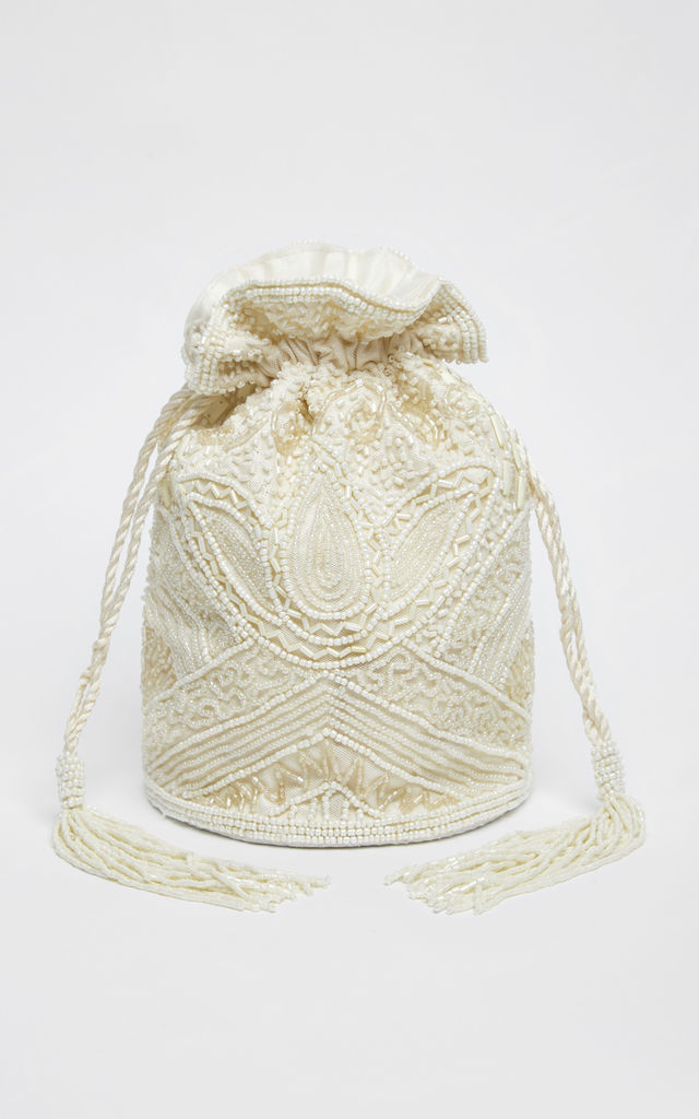 Beatrice Vintage Inspired Hand Embellished Bucket Bag in Cream by Gatsbylady London