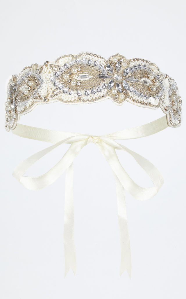 Claire Vintage Inspired Flapper Headband in Cream by Gatsbylady London