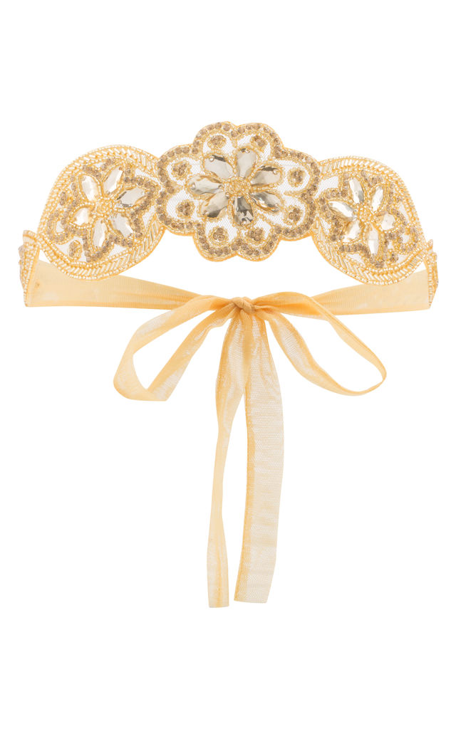 Julia Vintage Inspired Flapper Headband in Gold by Gatsbylady London