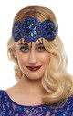 Julia Vintage Inspired Flapper Headband in Royal Blue by Gatsbylady London