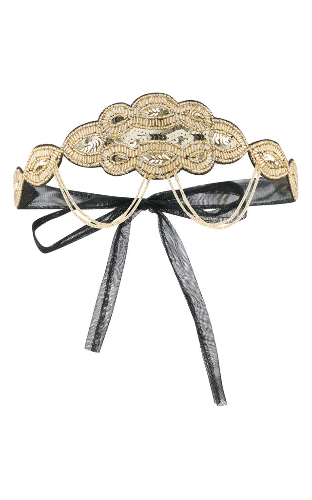 Ritz Vintage Inspired Headband in Black Gold by Gatsbylady London