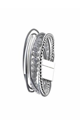 Silver bead and leather bangle by Nautical and Nice Ltd