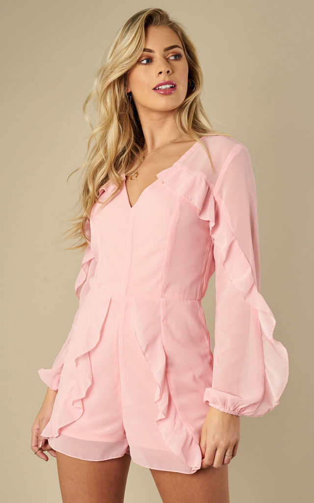 Pink Ruffle Playsuit by Oeuvre