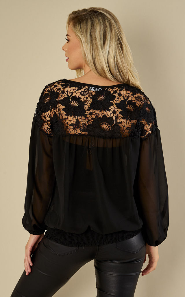 Black Blouse With Crochet Detailing by Oeuvre