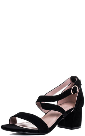 FANCY DOES Adjustable Buckle Block Heel Sandals Shoes - Black Suede Style by SpyLoveBuy