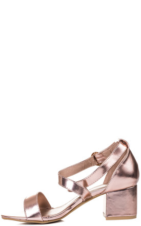 FANCY DOES Adjustable Buckle Block Heel Sandals Shoes - Gold Leather Style by SpyLoveBuy