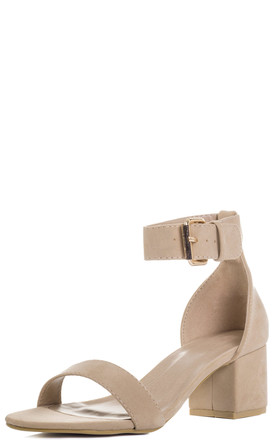FOR KEEPS Adjustable Buckle Block Heel Sandals Shoes - Nude Suede Style by SpyLoveBuy
