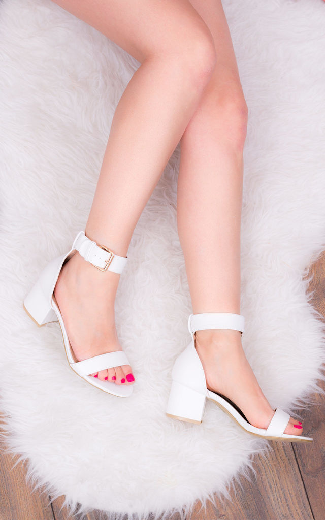 FOR KEEPS Adjustable Buckle Block Heel Sandals Shoes - White Leather Style by SpyLoveBuy