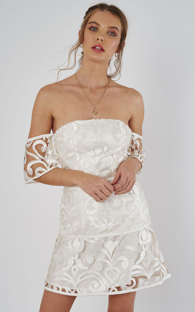 alchemy strapless dress in ivory by Finders Keepers