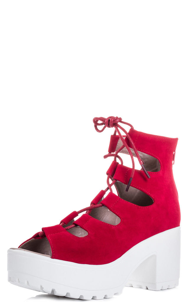 LASER Lace Up Block Heel Sandals Shoes - Red Suede Style by SpyLoveBuy