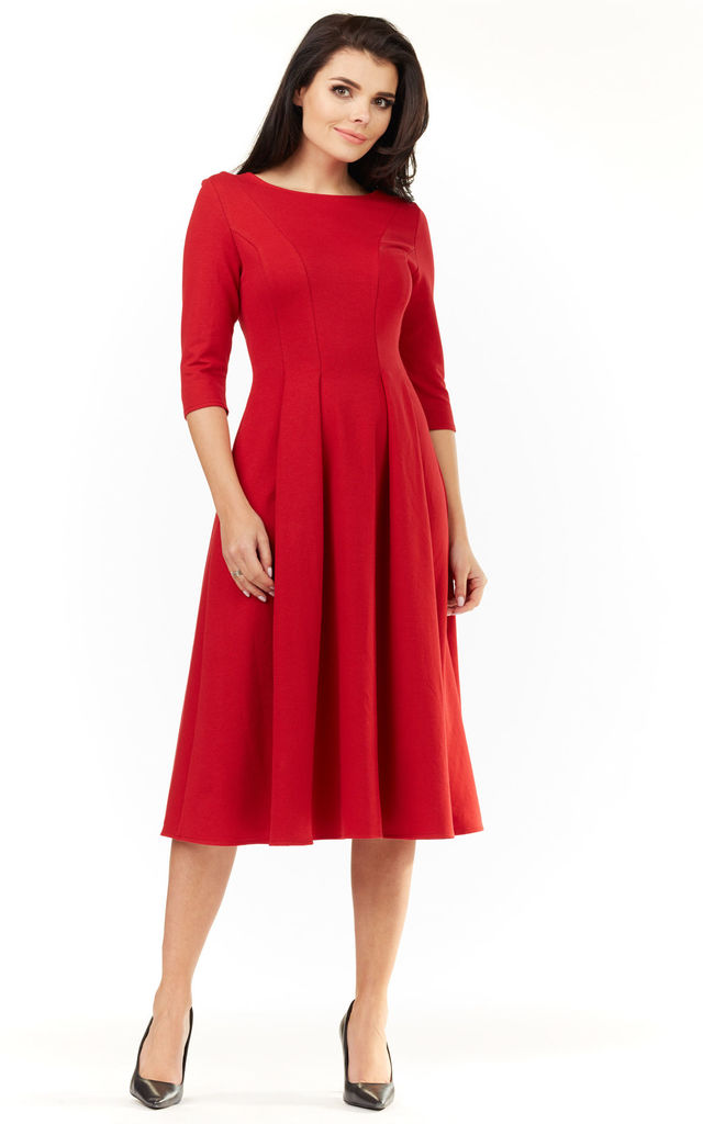 3/4 Sleeve Flared Midi Dress in Red by AWAMA