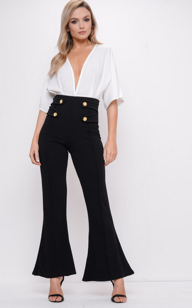 Button High Waisted Flare Trousers Black by LILY LULU FASHION