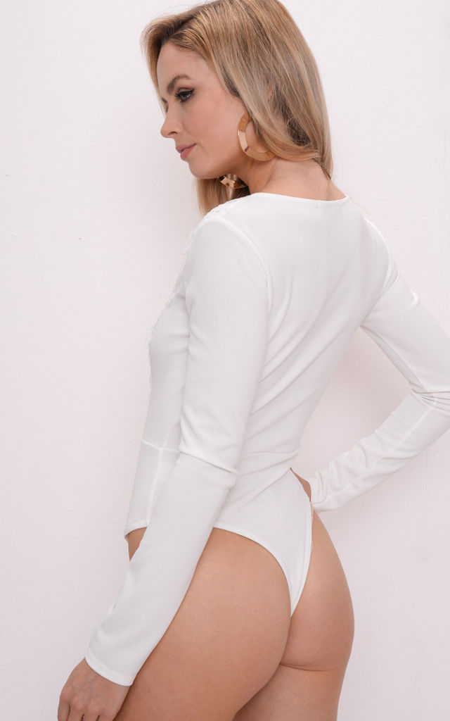 Crochet Lace Plunge Long Sleeve Bodysuit White by LILY LULU FASHION