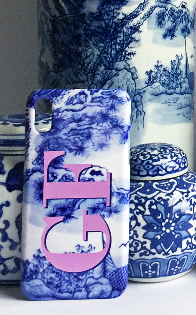 Blue White & Pink print monogram phone case by Rianna Phillips