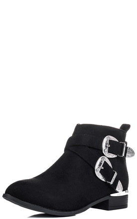 ON DUTY Cowboy Western Flat Ankle Boots Shoes - Black Suede Style by SpyLoveBuy