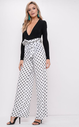 Black Polka Dot Tie Waist Paperbag Trousers White by LILY LULU FASHION