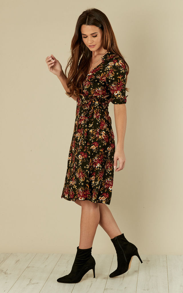 Vintage Wrap Dress Country Bouquet Black by Ruby Rocks