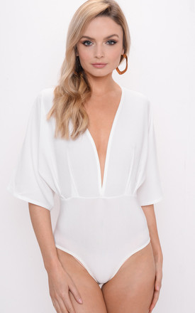 Plunge Batwing Sleeve Bodysuit White by LILY LULU FASHION