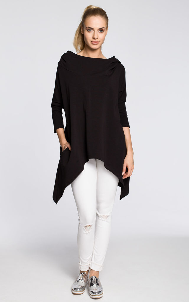 Black hooded cape top with asymmetric hem and 3/4 sleeves by MOE