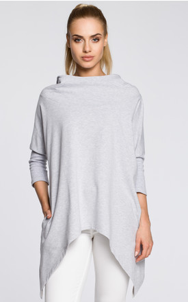 Light hooded cape top with asymmetric hem and 3/4 sleeves by MOE