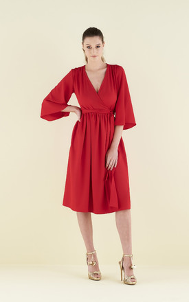 Pearl Wrap Dress With Kimono Sleeve by CocooVe Product photo