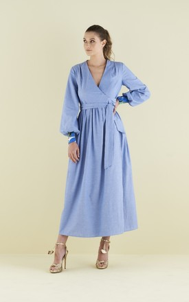 Lilody Maxi Wrap Dress In Cotton Chambray by COCOOVE Product photo