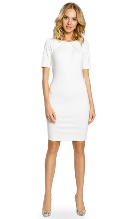 White Pencil Midi Dress Pleated Neckline Short Sleeve by MOE