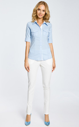 Light Blue Combined Fitted Shirt Short Sleeve by MOE