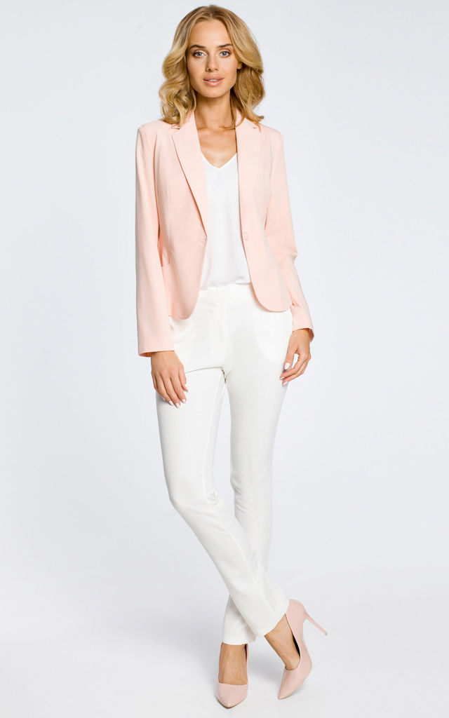 Pink Classic Single Button Long Sleeve Jacket by MOE