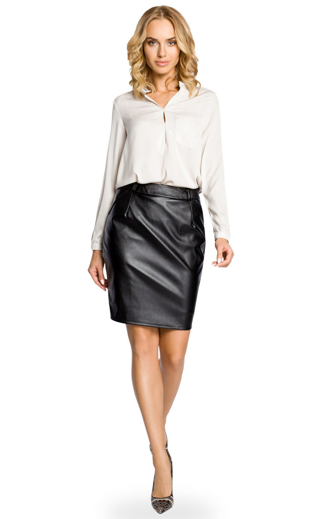 Black Essential Faux Leather Pencil Skirt by MOE