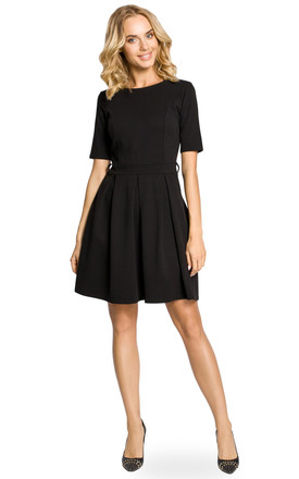 Black A-line Pleated Dress with Short Sleeve by MOE