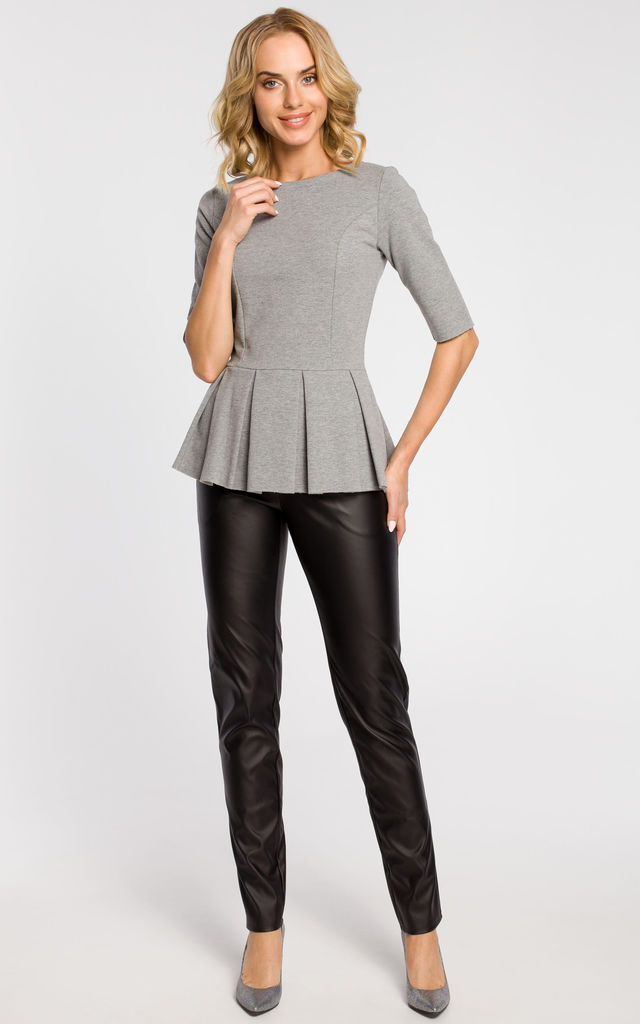 Grey elegant plain peplum top with zip at the back by MOE