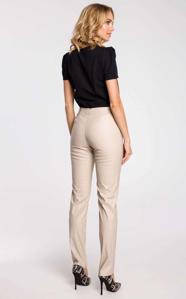 Beige straight leg, faux leather trousers with a back zip by MOE