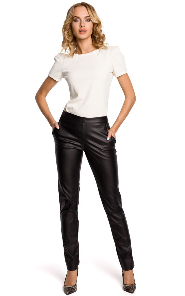 Black straight leg, faux leather trousers with a back zip by MOE