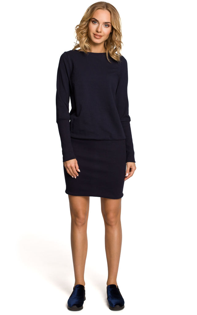 Navy blue terry knit plain dress with ribbed trim finishing by MOE