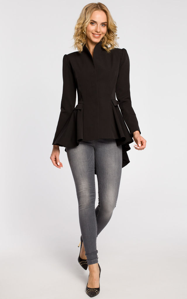 Black asymmetric, buttoned tail jacket with a collar by MOE