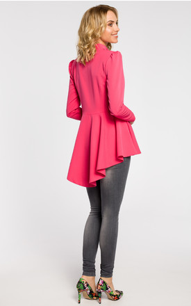Pink asymmetric, buttoned tail jacket with a collar by MOE