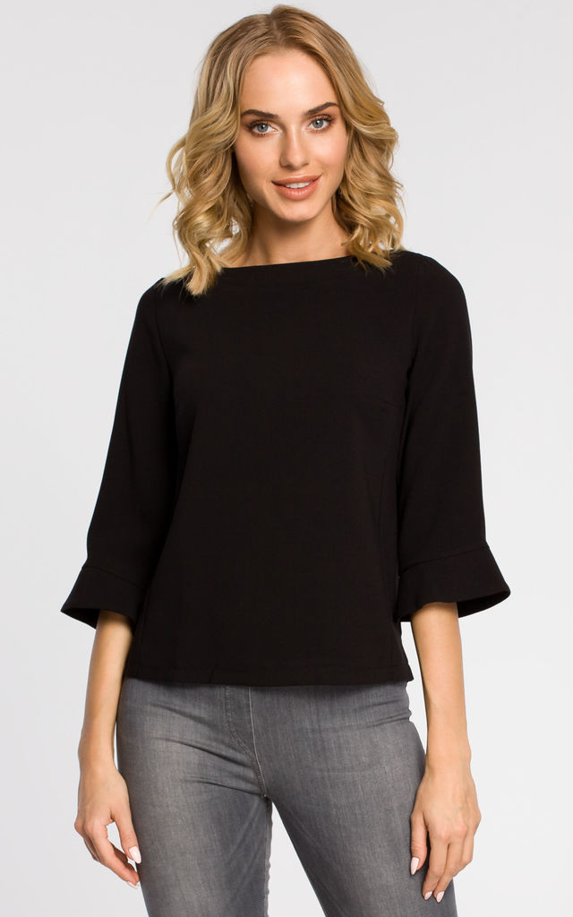 Black plain blouse with ¾ sleeves and an expose zip on the back by MOE