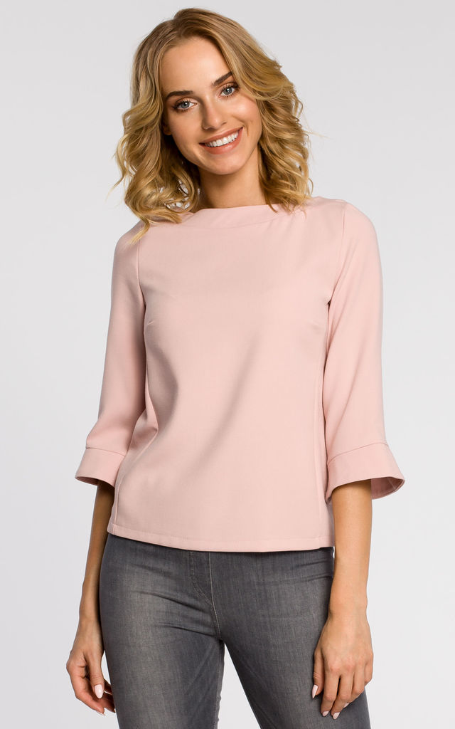 Pink plain blouse with ¾ sleeves and an expose zip on the back by MOE
