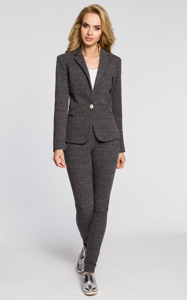 Graphite office jacket with a peaked collar and a single-button closure by MOE