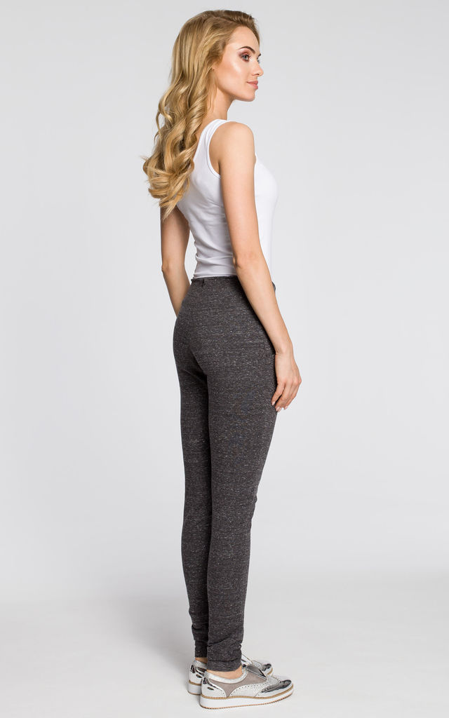 Graphite terry knit trousers with slim legs by MOE