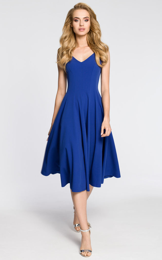 Royal blue evening sleeveless dress by MOE