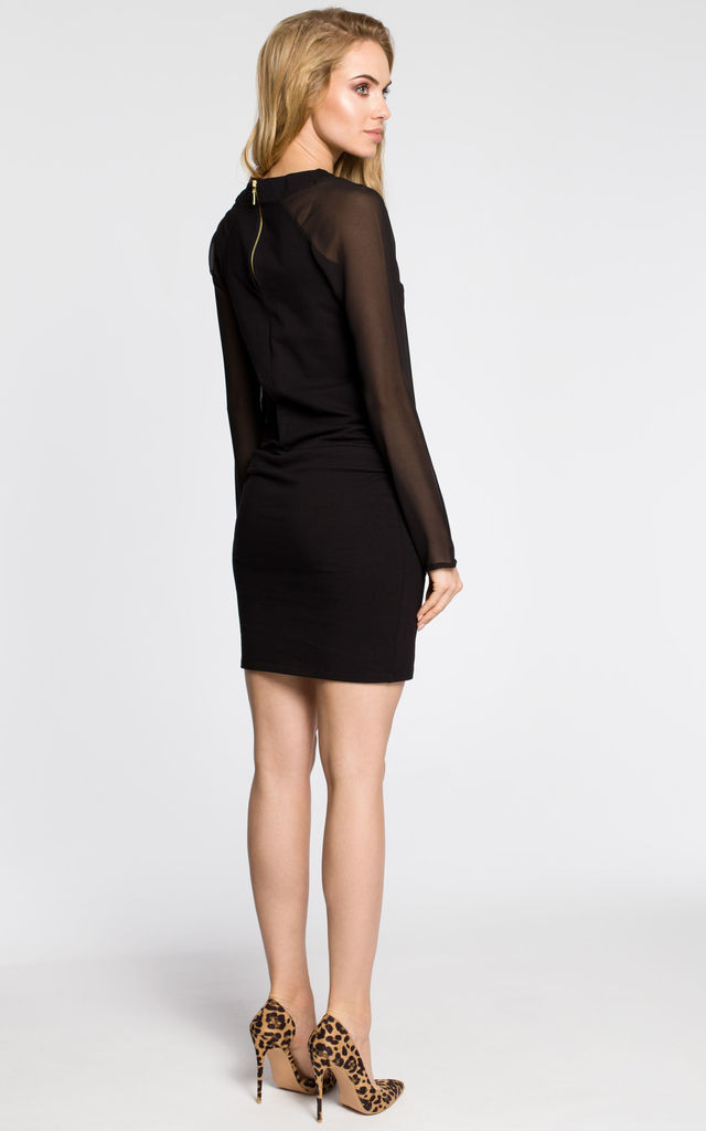 Black cocktail mini dress string-tied at the waistline by MOE