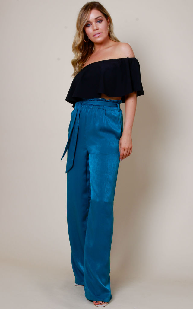 Frill Tie Waist Wide Leg Trousers - Teal by Pretty Lavish