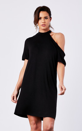 Black Knit T Shirt One Shoulder Dress by The Vanity Room Product photo