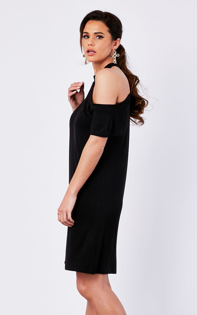 BLACK KNIT T-SHIRT ONE SHOULDER DRESS by The Vanity Room