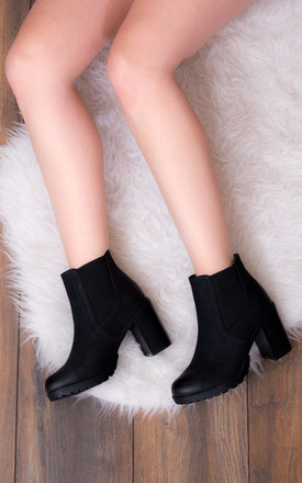 BOMBSHELL Block Heel Chelsea Ankle Boots - Black Leather Style by SpyLoveBuy