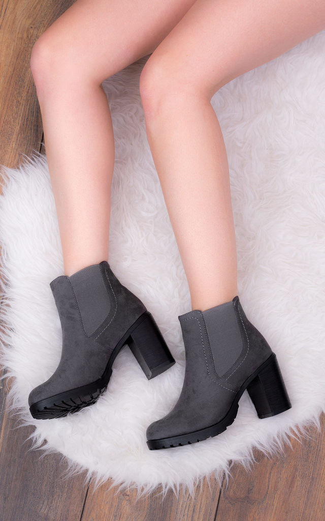 BOMBSHELL Platform Heel Chelsea Ankle Boots - Grey Suede Style by SpyLoveBuy